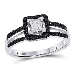 Round Black Color Enhanced Diamond Cluster Ring 1/3 Cttw 10kt White Gold