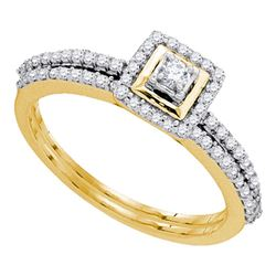 Diamond Slender Bridal Wedding Engagement Ring Band Set 1/3 Cttw 10kt Yellow Gold