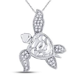 Diamond Turtle Tortoise Animal Pendant 1/10 Cttw 10kt White Gold