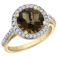 2.44 CTW Quartz & Diamond Ring 10K Yellow Gold - REF-57W3F