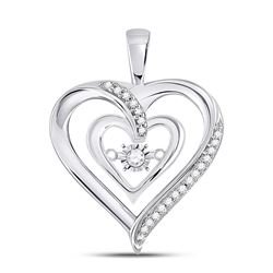 Diamond Moving Twinkle Solitaire Heart Pendant 1/10 Cttw 10kt White Gold