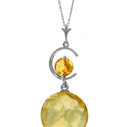 Genuine 5.8 ctw Citrine Necklace 14KT White Gold - REF-25F9Z