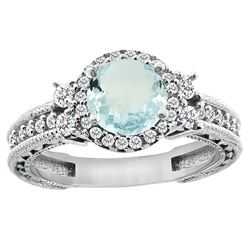 1.46 CTW Aquamarine & Diamond Ring 14K White Gold - REF-76K9W