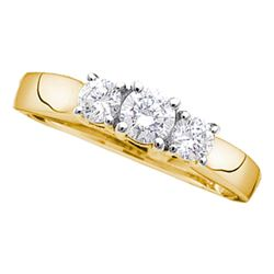 Diamond 3-stone Bridal Wedding Engagement Ring 1/4 Cttw 14kt Yellow Gold