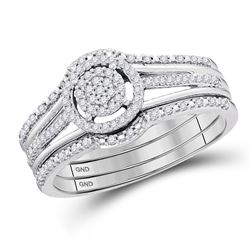 Diamond Cluster 3-Piece Bridal Wedding Engagement Ring Band Set 1/4 Cttw 10kt White Gold