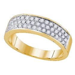 Diamond 3 Row Band Ring 1/2 Cttw 10kt Yellow Gold