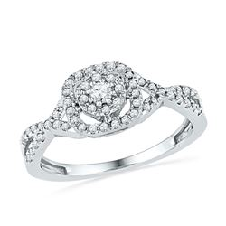 Diamond Solitaire Twist Bridal Wedding Engagement Ring 1/3 Cttw 10kt White Gold