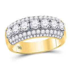 Diamond Triple Row Band Ring 2.00 Cttw 14kt Yellow Gold