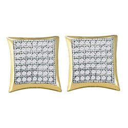 Diamond Square Kite Square Screwback Earrings 1/3 Cttw 10kt Yellow Gold