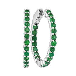 Round Emerald Inside Outside Hoop Earrings 2.00 Cttw 14kt White Gold