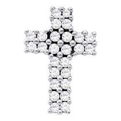 Diamond Cross Pendant 1/3 Cttw 14kt White Gold