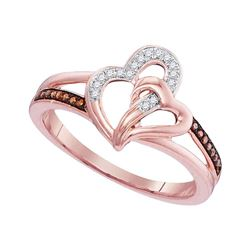 Round Red Color Enhanced Diamond Joined Hearts Ring 1/10 Cttw 10kt Rose Gold