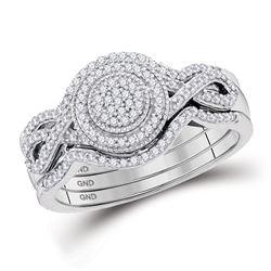 Diamond Cluster 3-Piece Bridal Wedding Engagement Ring Band Set 1/3 Cttw 10kt White Gold
