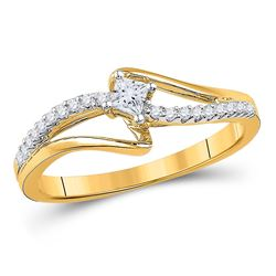 Diamond Solitaire Promise Bridal Ring 1/6 Cttw 10kt Yellow Gold