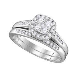 Diamond Cluster Bridal Wedding Engagement Ring Band Set 1/2 Cttw 14kt White Gold