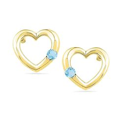 Round Lab-Created Blue Topaz Heart Earrings 1/8 Cttw 10kt Yellow Gold