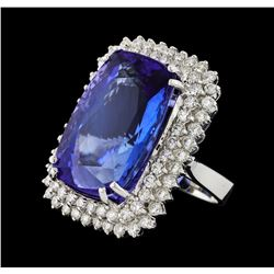 GIA Cert 38.29 ctw Tanzanite and Diamond Ring - 14KT White Gold