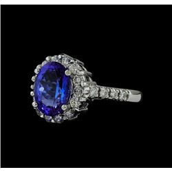 3.01 ctw Tanzanite and Diamond Ring - 14KT White Gold