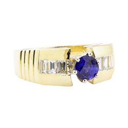 1.30 ctw Sapphire and Diamond Ring - 14KT Yellow Gold