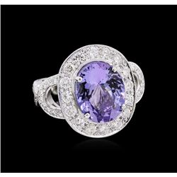 6.74 ctw Tanzanite and Diamond Ring - 18KT White Gold