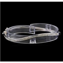 1.05 ctw Diamond Bangle Bracelet - 14KT White Gold