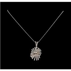 14KT White Gold 1.34 ctw Diamond Pendant With Chain
