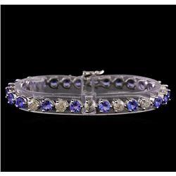 14KT White Gold 12.69 ctw Tanzanite and Diamond Bracelet