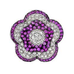18k Yellow Gold 1.96CTW Pink Sapphire and Diamond Pendant, (I1-I2/H-I)