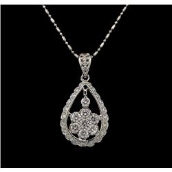 14KT White Gold 1.11 ctw Diamond Pendant With Chain