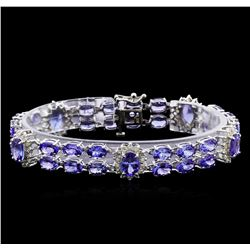 24.48 ctw Tanzanite and Diamond Bracelet - 14KT White Gold