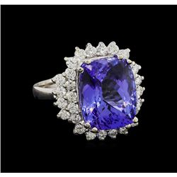 11.23 ctw Tanzanite and Diamond Ring - 14KT White Gold