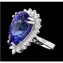14.11 ctw Tanzanite and Diamond Ring - 14KT White Gold