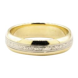 Two-Tone 5mm Half-Dome Band - 14KT Yellow and White Gold