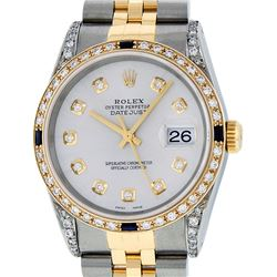 Rolex Mens 2 Tone 14K Lugs Silver Diamond & Sapphire 36MM Datejust