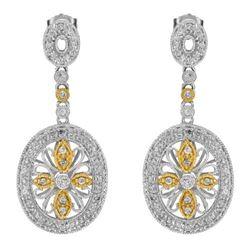 14k Two Tone Gold 0.64CTW Diamond Earrings, (I1-I2/G-I)