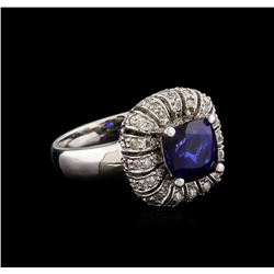 14KT White Gold 2.25 ctw Tanzanite and Diamond Ring
