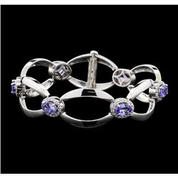 4.60 ctw Tanzanite and Diamond Bracelet - 14KT White Gold