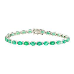 7.25 ctw Emerald and Diamond Bracelet - 18KT White Gold