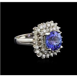 14KT White Gold 3.11 ctw Tanzanite and Diamond Ring