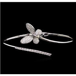 0.88 ctw Diamond Bangle Bracelet - 14KT White Gold