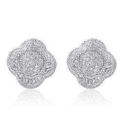 18k White Gold 0.99CTW Diamond Earrings, (VS2-SI1/H-I)