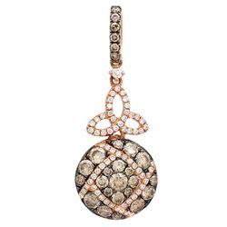 14k Rose Gold 1.01CTW Diamond and Brown Diamonds Pendant, (VS-SI1/F-G)