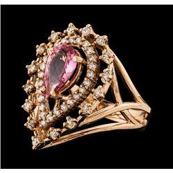 1.21 ctw Pink Tourmaline and Diamond Ring - 14KT Rose Gold