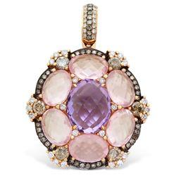 18k Rose Gold  10.30CTW Amethys and Rose Quartz and Brown Diamonds Pendant