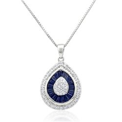 18k White Gold 1.71CTW Diamond and Blue Sapphire Pendant, (SI2-SI3/H-I)