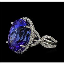 17.09 ctw Tanzanite and Diamond Ring - 14KT White Gold
