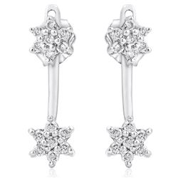 14k White Gold 0.35CTW Diamond Earrings, (I2-I3/H-I)