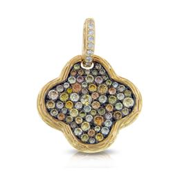14k Yellow Gold  1.26CTW Diamond and Multicolor Dia Pendant