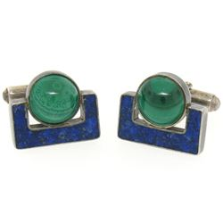 Sterling Silver Malachite & Lapis Swivel Cuff Links