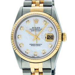 Rolex Mens 2 Tone 14K Mother Of Pearl VS Diamond 36MM Datejust Wristwatch